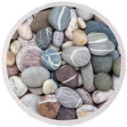 Round Beach Towel featuring the photograph Colorful Beach Pebbles by Elena Elisseeva