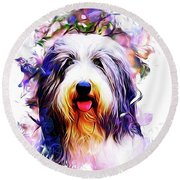 Round Beach Towel featuring the digital art Colorful Bearded Collie by Kathy Kelly