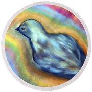 Colorful Bird On Deck Round Beach Towel