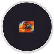 Colorful Bison Round Beach Towel