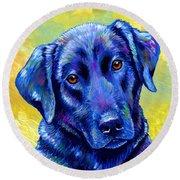 Colorful Black Labrador Retriever Dog Round Beach Towel