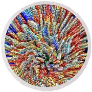 Colorful Block Array Round Beach Towel by Kellice Swaggerty