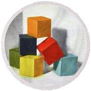 Colorful Blocks Round Beach Towel