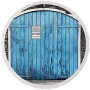 Colorful Blue Garage Door French Quarter New Orleans Color Splash Black And White And Poster Edges Round Beach Towel by Shawn O'Brien