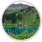 Colorful Blue Lakes Landscape Round Beach Towel