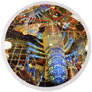 Colorful Blue Lobster Round Beach Towel by Allan Levin