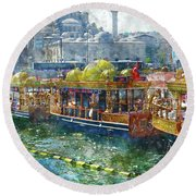 Colorful Boats In Istanbul Turkey Round Beach Towel