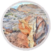 Colorful Boulder At Valley Of Fire Round Beach Towel