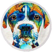 Colorful Boxer Dog Art By Sharon Cummings  Round Beach Towel