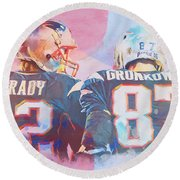 Round Beach Towel featuring the painting Colorful Brady And Gronkowski by Dan Sproul