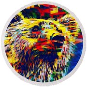 Colorful Brown Bear Round Beach Towel