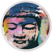 Colorful Buddha 1- Art By Linda Woods Round Beach Towel