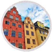 Colorful Buildings In Gamla Stan, Stockholm Round Beach Towel