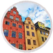 Colorful Buildings In Gamla Stan, Stockholm Round Beach Towel