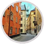 Colorful Buildings In The Old Center Of Stockholm Round Beach Towel