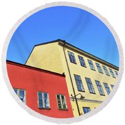 Colorful Buildings Of Stockholm Round Beach Towel