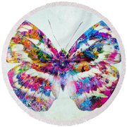 Colorful Butterfly Art Round Beach Towel