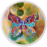 Colorful Butterfy Abstract Painting Round Beach Towel by Gabriella Weninger - David