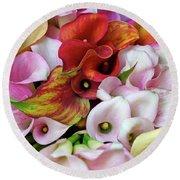 Colorful Calla Lilies Round Beach Towel