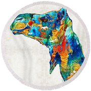 Colorful Camel Art By Sharon Cummings Round Beach Towel