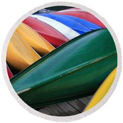 Colorful Canoes Round Beach Towel