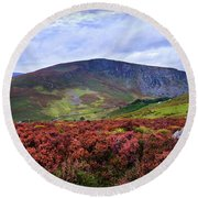 Round Beach Towel featuring the photograph Colorful Carpet Of Wicklow Hills by Jenny Rainbow