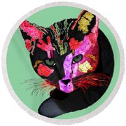 Colorful Cat Abstract Artwork By Claudia Ellis Round Beach Towel