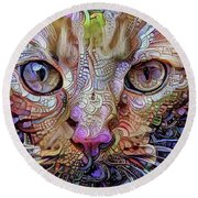 Colorful Cat Art Round Beach Towel by Peggy Collins