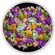 Colorful Cauliflower Mosaic Round Beach Towel