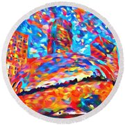 Round Beach Towel featuring the painting Colorful Chicago Bean by Dan Sproul