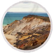 Colorful Clay Cliffs On The Vineyard Round Beach Towel