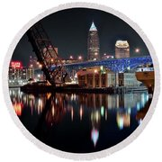 Round Beach Towel featuring the photograph Colorful Cleveland Flats by Frozen in Time Fine Art Photography