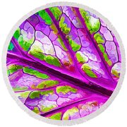 Colorful Coleus Abstract 2 Round Beach Towel