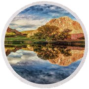 Round Beach Towel featuring the photograph Colorful Colorado - Panorama by OLena Art Brand
