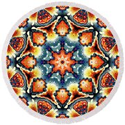 Colorful Concentric Motif Round Beach Towel by Phil Perkins