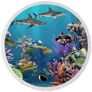 Colorful Coral Reef Round Beach Towel