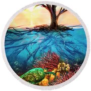 Round Beach Towel featuring the photograph Colorful Coral Seas by Debra and Dave Vanderlaan
