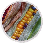 Colorful Corn 2 Round Beach Towel