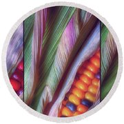 Colorful Corn Trio Round Beach Towel