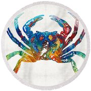Colorful Crab Art By Sharon Cummings Round Beach Towel by Sharon Cummings