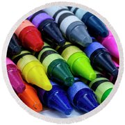 Colorful Crayons Round Beach Towel