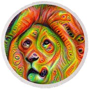 Colorful Crazy Lion Deep Dream Round Beach Towel