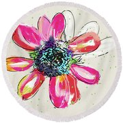 Round Beach Towel featuring the mixed media Colorful Daisy- Art By Linda Woods by Linda Woods