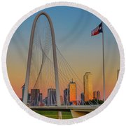 Colorful Dallas Sunset Round Beach Towel