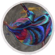 Colorful Dancer Round Beach Towel