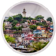 Colorful Houses On The Hill Round Beach Towel