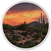 Round Beach Towel featuring the photograph Colorful Desert Skies At Sunset  by Saija Lehtonen