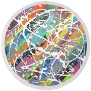 Colorful Disaster Aka Jeremy's Mess Round Beach Towel by Jeremy Aiyadurai