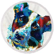 Colorful Dog Art - Irresistible - By Sharon Cummings Round Beach Towel