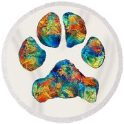 Colorful Dog Paw Print By Sharon Cummings Round Beach Towel